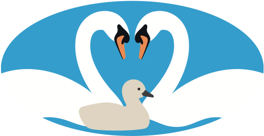 Enabled2Parent logo featuring two swans and their cygnet